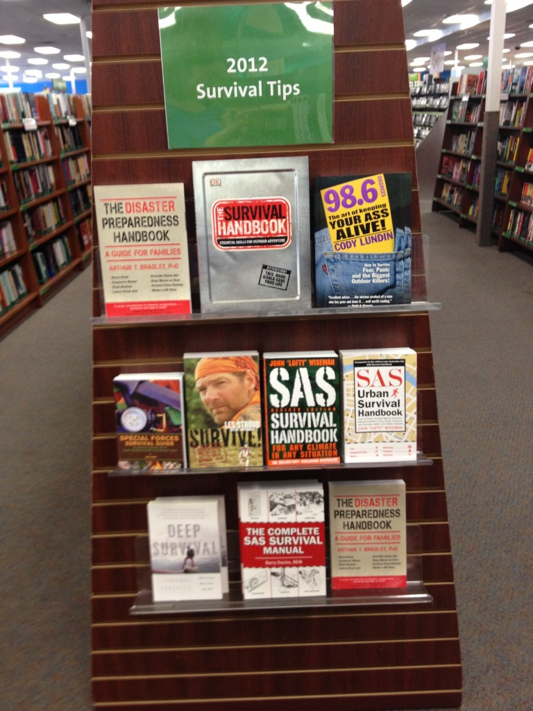Endcap at bookstore displaying survivalist literature